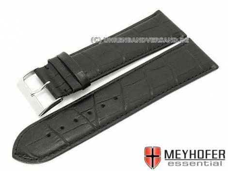 Watch strap XL -Maracaibo- 26mm black leather alligator grain stitched by MEYHOFER (width of buckle 24 mm) - Bild vergrößern
