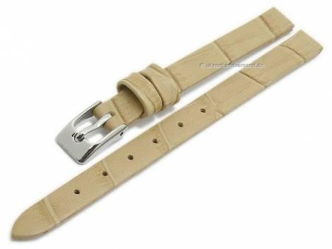 Watch strap -Pensacola- 08mm clip lug attachment beige leather alligator grain by MEYHOFER (width of buckle 08 mm) - Bild vergrößern