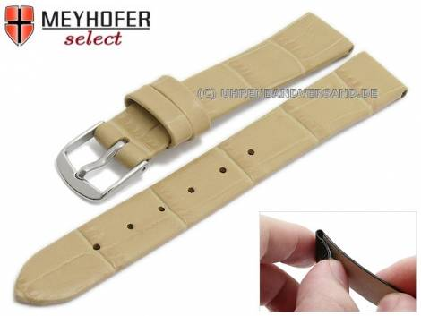 Watch strap -Pensacola- 14mm clip lug attachment beige leather alligator grain by MEYHOFER (width of buckle 12 mm) - Bild vergrößern