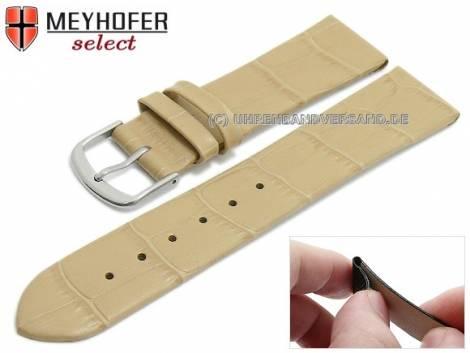Watch strap -Pensacola- 16mm clip lug attachment beige leather alligator grain by MEYHOFER (width of buckle 16 mm) - Bild vergrößern