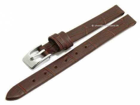 Watch strap -Pensacola- 08mm clip lug attachment dark brown leather alligator grain by MEYHOFER (width of buckle 08 mm) - Bild vergrößern