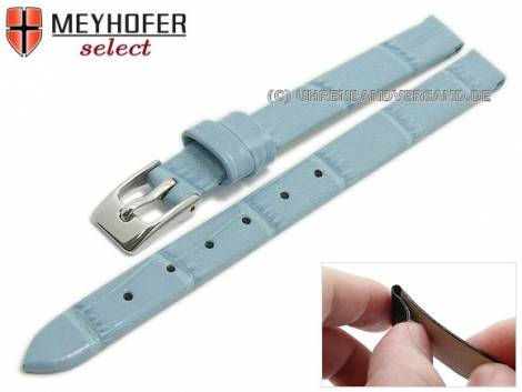Watch strap -Pensacola- 08mm clip lug attachment ice blue leather alligator grain by MEYHOFER (width of buckle 08 mm) - Bild vergrößern