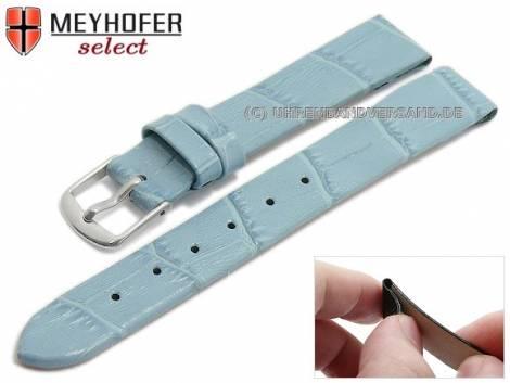 Watch strap -Pensacola- 14mm clip lug attachment ice blue leather alligator grain by MEYHOFER (width of buckle 12 mm) - Bild vergrößern