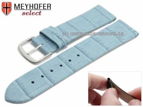 Watch strap -Pensacola- 16mm clip lug attachment ice blue leather alligator grain by MEYHOFER (width of buckle 16 mm) - Bild vergrößern