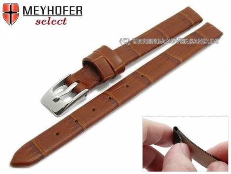 Watch strap -Pensacola- 08mm clip lug attachment light brown leather alligator grain by MEYHOFER (width of buckle 08 mm) - Bild vergrößern