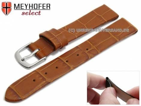 Watch strap -Pensacola- 10mm clip lug attachment light brown leather alligator grain by MEYHOFER (width of buckle 08 mm) - Bild vergrößern