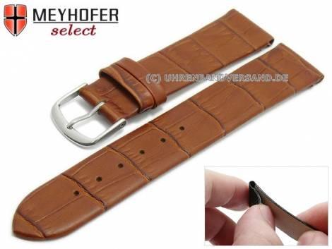 Watch strap -Pensacola- 16mm clip lug attachment light brown leather alligator grain by MEYHOFER (width of buckle 16 mm) - Bild vergrößern