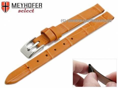 Watch strap -Pensacola- 08mm clip lug attachment orange leather alligator grain by MEYHOFER (width of buckle 08 mm) - Bild vergrößern