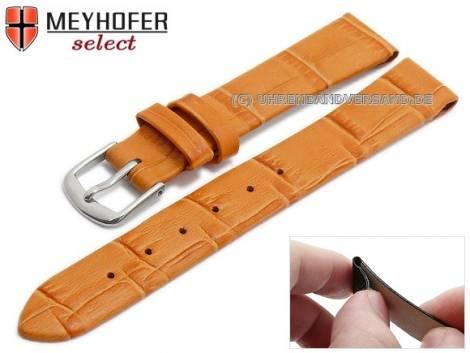 Watch strap -Pensacola- 12mm clip lug attachment orange leather alligator grain by MEYHOFER (width of buckle 12 mm) - Bild vergrößern
