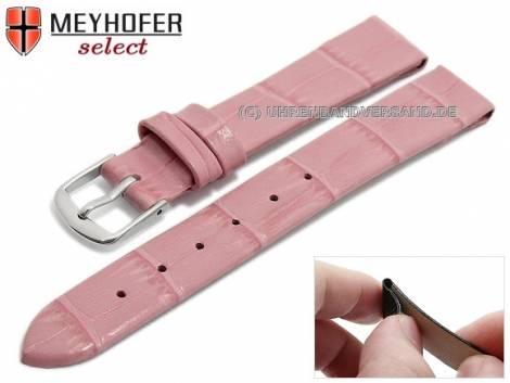 Watch strap -Pensacola- 10mm clip lug attachment pink leather alligator grain by MEYHOFER (width of buckle 08 mm) - Bild vergrößern