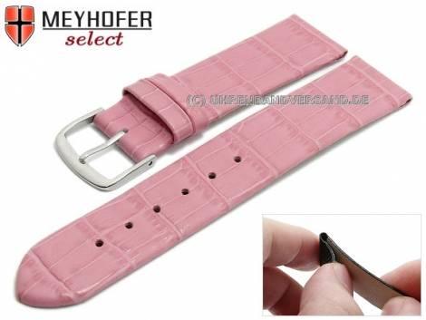 Watch strap -Pensacola- 16mm clip lug attachment pink leather alligator grain by MEYHOFER (width of buckle 16 mm) - Bild vergrößern