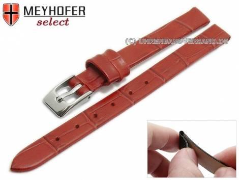 Watch strap -Pensacola- 08mm clip lug attachment red leather alligator grain by MEYHOFER (width of buckle 08 mm) - Bild vergrößern