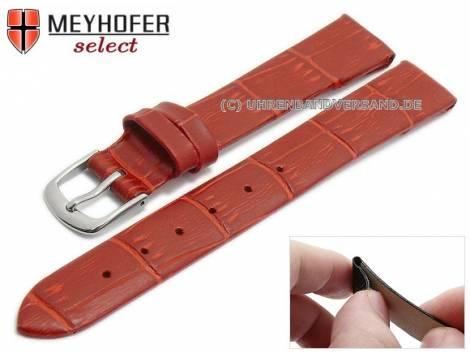 Watch strap -Pensacola- 14mm clip lug attachment red leather alligator grain by MEYHOFER (width of buckle 12 mm) - Bild vergrößern