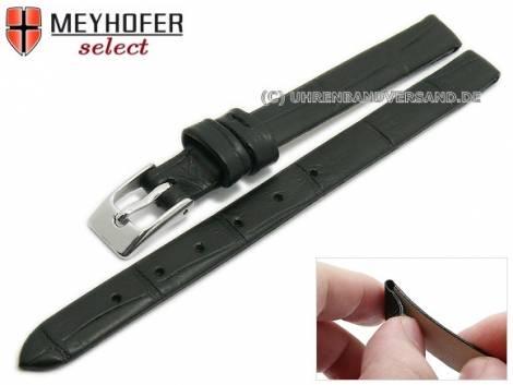 Watch strap -Pensacola- 08mm clip lug attachment black leather alligator grain by MEYHOFER (width of buckle 08 mm) - Bild vergrößern
