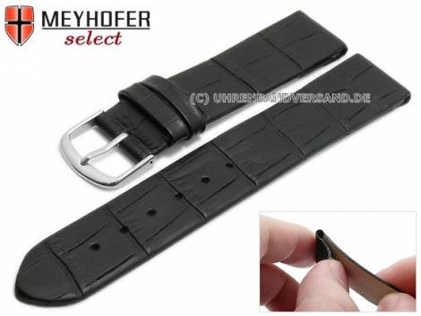 Watch strap -Pensacola- 16mm clip lug attachment black leather alligator grain by MEYHOFER (width of buckle 16 mm) - Bild vergrößern