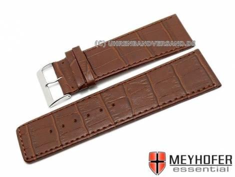 Watch strap XL -Girona- 30mm dark brown leather alligator grain stitched by MEYHOFER (width of buckle 28 mm) - Bild vergrößern