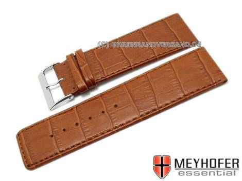 Watch strap XL -Girona- 30mm light brown leather alligator grain stitched by MEYHOFER (width of buckle 28 mm) - Bild vergrößern