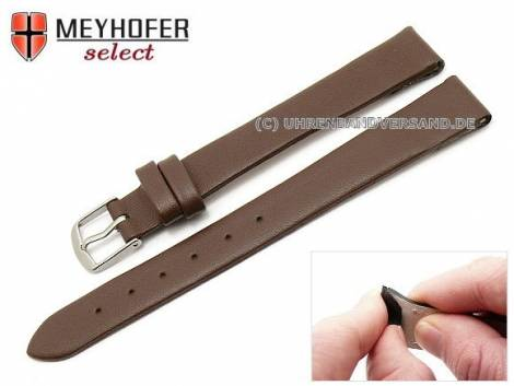Watch strap XL -Southampton- 12mm clip lug attachment dark brown leather smooth matt by MEYHOFER (width of buckle 12 mm) - Bild vergrößern