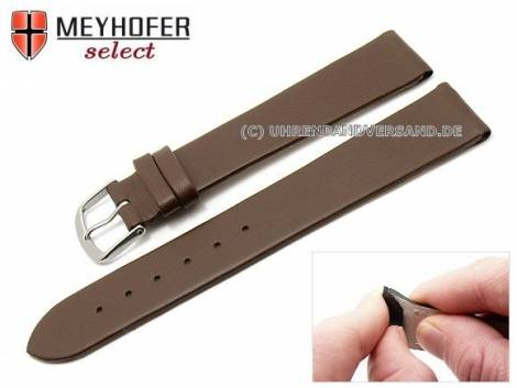 Watch strap -Rockhampton- 16mm clip lug attachment dark brown leather smooth matt by MEYHOFER (width of buckle 16 mm) - Bild vergrößern