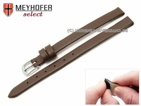 Watch strap -Rockhampton- 08mm clip lug attachment dark brown leather smooth matt by MEYHOFER (width of buckle 08 mm) - Bild vergrößern