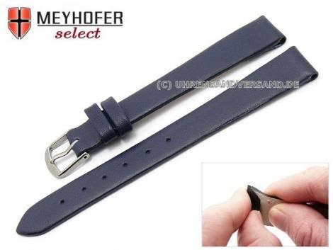Watch strap -Rockhampton- 12mm clip lug attachment dark blue leather smooth matt by MEYHOFER (width of buckle 12 mm) - Bild vergrößern