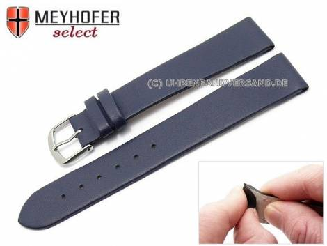 Watch strap XL -Southampton- 20mm clip lug attachment dark blue leather smooth matt by MEYHOFER (width of buckle 18 mm) - Bild vergrößern