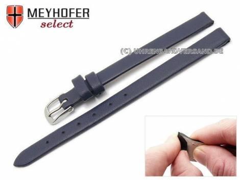 Watch strap -Rockhampton- 08mm clip lug attachment dark blue leather smooth matt by MEYHOFER (width of buckle 08 mm) - Bild vergrößern