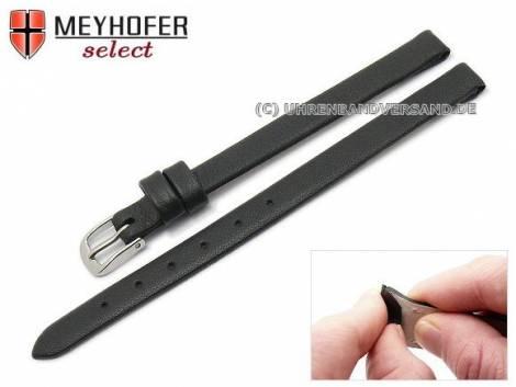 Watch strap -Rockhampton- 08mm clip lug attachment black leather smooth matt by MEYHOFER (width of buckle 08 mm) - Bild vergrößern