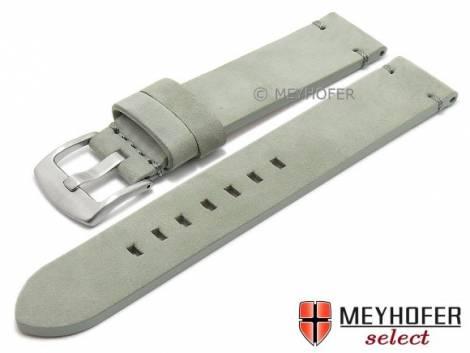 Watch strap -Seattle- 22mm grey leather suede-like stitched by MEYHOFER (width of buckle 22 mm) - Bild vergrößern