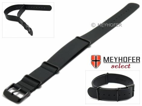 Watch strap -Bathurst- 22mm black leather smooth one-piece strap in NATO style with black buckle by MEYHOFER - Bild vergrößern