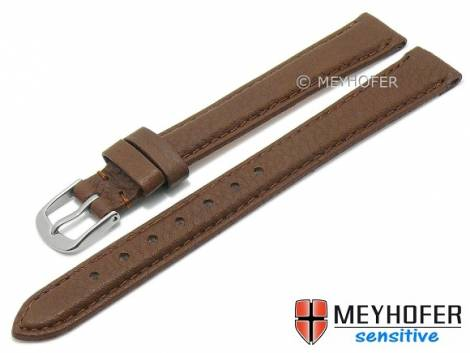 Watch strap XL -Appenzell- 12mm dark brown leather grained vegetable stitched by MEYHOFER (width of buckle 12 mm) - Bild vergrößern
