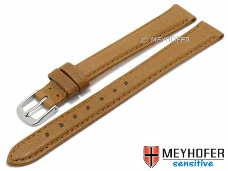 Watch strap XL -Appenzell- 14mm light brown leather grained vegetable stitched by MEYHOFER (width of buckle 12 mm) - Bild vergrößern