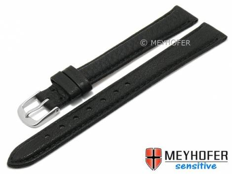 Watch strap XL -Appenzell- 12mm black leather grained vegetable stitched by MEYHOFER (width of buckle 12 mm) - Bild vergrößern