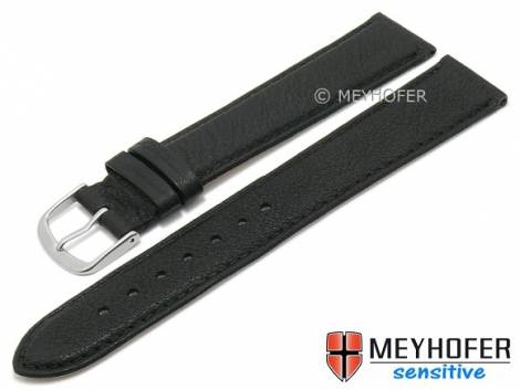 Watch strap XL -Appenzell- 16mm black leather grained vegetable stitched by MEYHOFER (width of buckle 14 mm) - Bild vergrößern