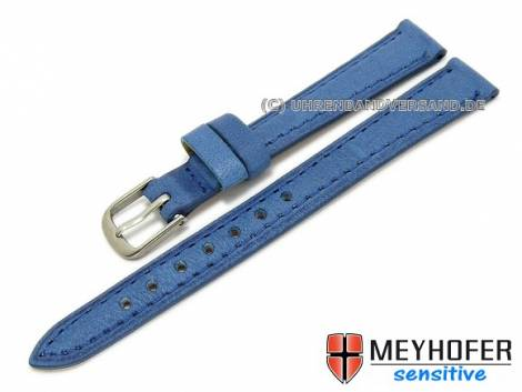 Watch band -Alvesta- 12mm blue grained genuine calf leather by MEYHOFER (width of buckle 10 mm) - Bild vergrößern