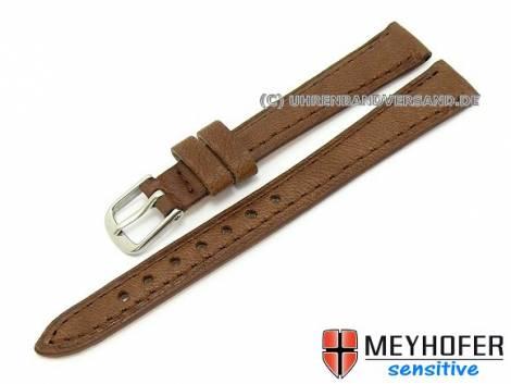 Watch band -Alvesta- 12mm brown grained genuine calf leather by MEYHOFER (width of buckle 10 mm) - Bild vergrößern