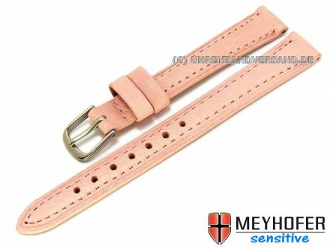 Watch band -Alvesta- 12mm pink grained genuine calf leather by MEYHOFER (width of buckle 10 mm) - Bild vergrößern
