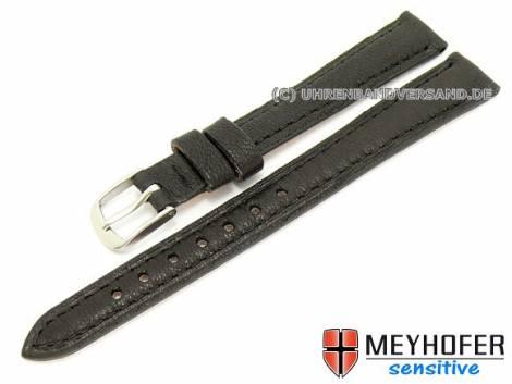 Watch band -Alvesta- 12mm black grained genuine calf leather by MEYHOFER (width of buckle 10 mm) - Bild vergrößern