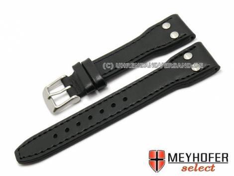 Watch band -Paterna- 20mm black aviator look stitched by MEYHOFER (width of buckle 16 mm) - Bild vergrößern