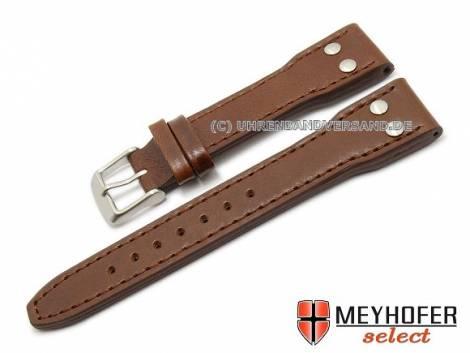 Watch band -Paterna- 20mm dark brown aviator look stitched by MEYHOFER (width of buckle 16 mm) - Bild vergrößern