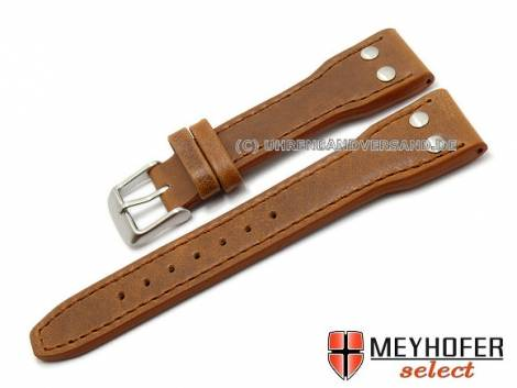 Watch band -Paterna- 22mm light brown aviator look stitched by MEYHOFER (width of buckle 18 mm) - Bild vergrößern
