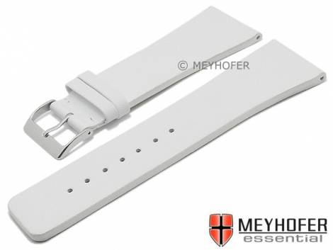 Watch strap -Cusco- 30mm white leather smooth matt by MEYHOFER (width of buckle 22 mm) - Bild vergrößern