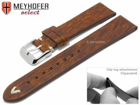Watch strap -Boonville- 18mm clip lug attachment dark brown leather vintage look by MEYHOFER (width of buckle 16 mm) - Bild vergrößern