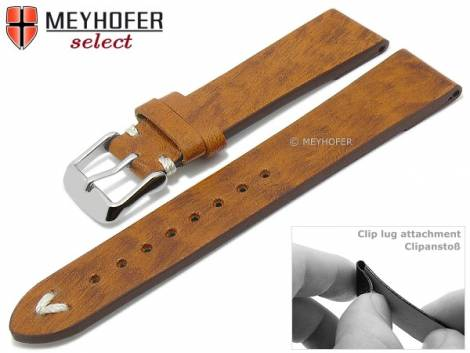 Watch strap -Boonville- 22mm clip lug attachment light brown leather vintage look by MEYHOFER (width of buckle 20 mm) - Bild vergrößern