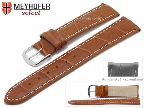 Watch strap -Bardstown- 21mm light brown leather alligator grain with curved ends by MEYHOFER (width of buckle 20 mm) - Bild vergrößern