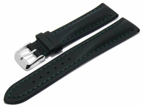 Watch strap -Rumford- 24mm black leather smooth matt green stitching by MEYHOFER (width of buckle 20 mm) - Bild vergrößern