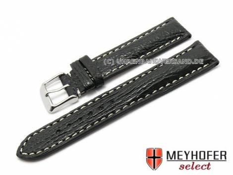 Watch strap -Tripolis- 24mm black genuine shark light stitching by MEYHOFER (width of buckle 20 mm) - Bild vergrößern
