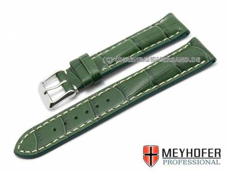 Watch strap -Nairobi- 20mm green calf´s leather alligator grain by MEYHOFER (width of buckle 18 mm) - Bild vergrößern