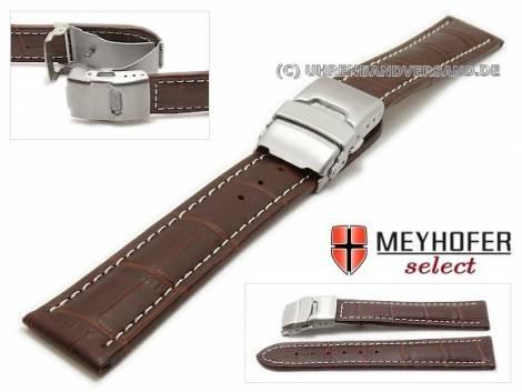 Watch strap -Livadia- 24mm dark brown leather alligator grain with clasp by MEYHOFER (width of clasp 22 mm) - Bild vergrößern