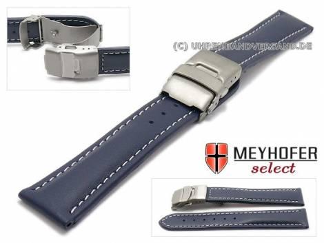 Watch strap -Milas- 20mm dark blue with titanium clasp light stitching by MEYHOFER (width of clasp 18 mm) - Bild vergrößern